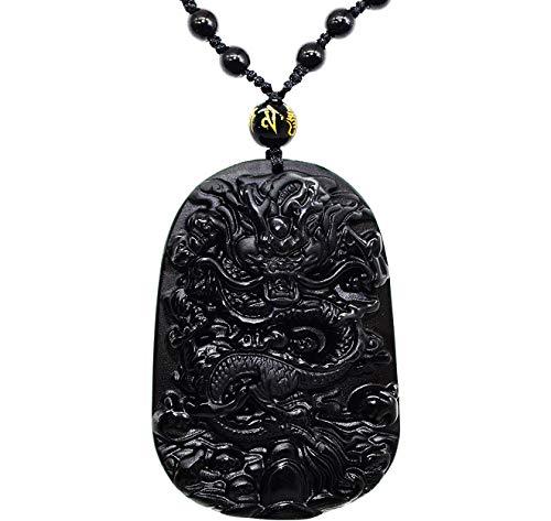 HLARK klassieke Chinese boeddhistische obsidiaan/gouden obsidiaan draak krijger kristal ornament met Obsidian ketting
