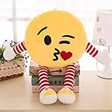 Frantic Plush Decorative Flying Kiss Smiley Pillow Cushions with Soft Hands and Legs (33x33 cm, Yellow)