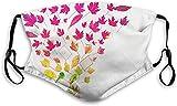 Keyboard cover Gesichtsschutz Mundschutz Kreative herbstliche künstlerische Grafik der bunten Blätter und der Buchstaben Nasenschutz Wiederverwendbar Waschbar Gesichts Schals Mit 6 Filtern
