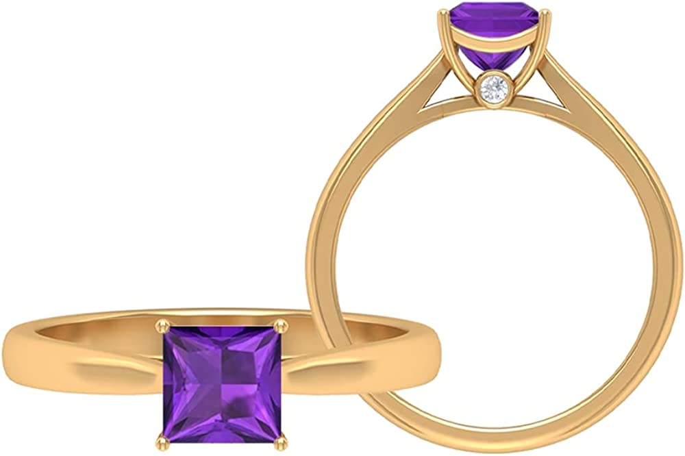 5.50 MM Princess Cut Amethyst Solitaire Ring, D-VSSI Moissanite Gold Ring, Solitaire Engagement Ring, 14K Yellow Gold, Size:US 13.0