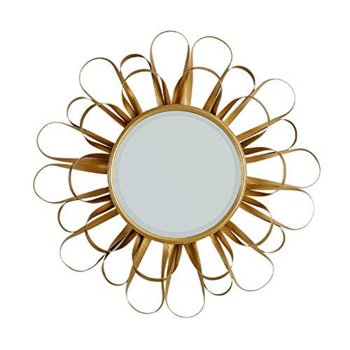 Miroirs Miroir Suspendu Miroir Mural En Fer Forgé Miroir D'entrée Créatif Miroir D'entrée De Salle De Bain Antique Miroir Décoratif De Salon (Color : Gold, Size : 70cm/27.5inches)