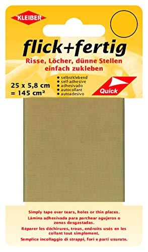 Kleiber 43072 Flick + fertig Selbstklebender Nylon Ausbesserungsflicken, 100% Polyamid, Beige, 25 x 5,8 x 0,02 cm , (145 cm²)
