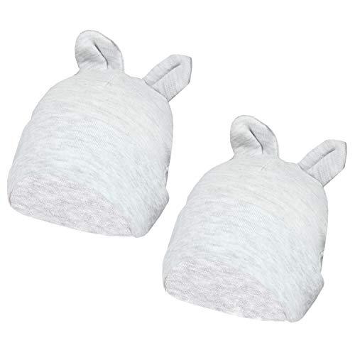 TupTam Baby Erstlingsmütze mit Ohren 2er Pack, Farbe: Grau Meliert, Größe: 50-56