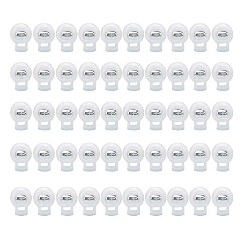 YFaith 50 Piezas Cerraduras de Cordón de Plástico, Redondo Cierre de Cuerda, Resorte Tapón Deslizante, Resorte de Extremo de un Solo Orificio, para Ropa Mochila Cordones de Cuerda ( Blanco )