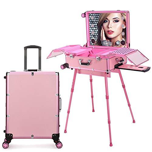 ZZSQ Estuche de tocador de Maquillaje de peluquería con Pantalla táctil 4 en 1 con Altavoz Bluetooth Espejo Iluminado Mesa de Tren portátil Estación de Maquillaje Vanity Cosmetic Trolley,Rosado
