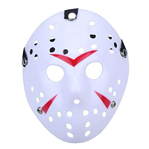Boolavard Horror Mask Halloween-Kostüm Hockeymaske Party Cosplay Requisiten Maske (Weiß)