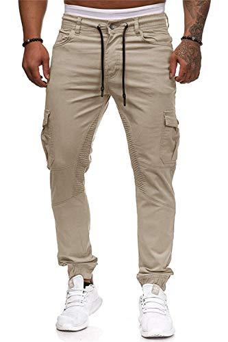Mens Pants Jogging Chino Cargo Pants Stretch Sports Pants with Pockets Slim Fit Casual Pants M Light Khaki