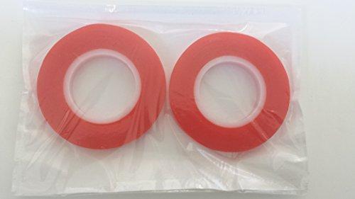 Doppelpack 9 mm x 10 m – rotes doppelseitiges Klebeband, stark klebend und ideal für die Herstellung von Lampenschirmen.