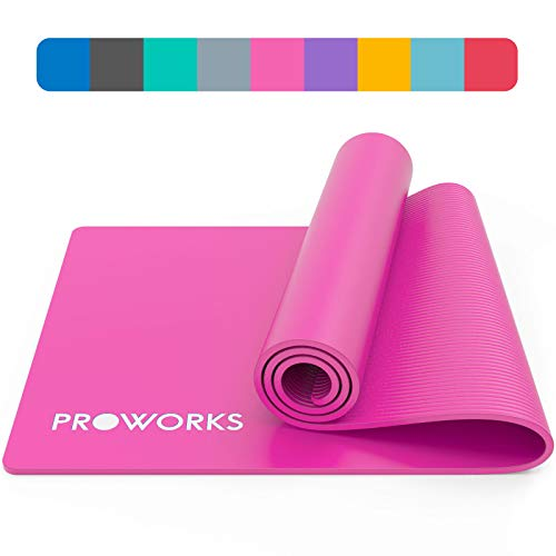 Proworks Yoga Mat, Eco Friendly NBR, Non-Slip Exercise Mat with Carry Strap for Yoga,...