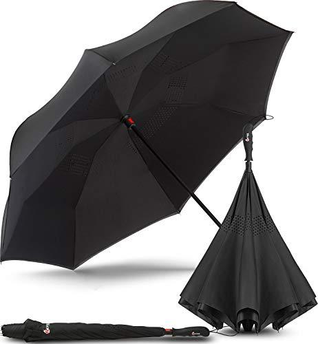 Repel Umbrella Inverted Umbrella, Upside Down Reverse Umbrella with 2 Layered Teflon Canopy and Reinforced Fiberglass Ribs (Black)