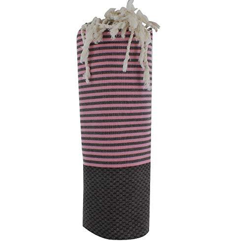 Fouta Badetuch Baumwolle Wabe Braun Farbe Rosa Streifen
