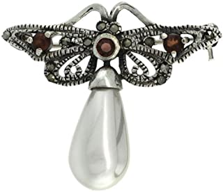 Sterling Silver Marcasite Butterfly Brooch Pin w/ Round Garnet Stones & Faux Pearl, 1 1/4 in. (31mm) tall