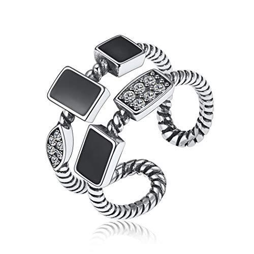 ChicSilver 925 Offener Ring Schwarzer Tropfwürfel Ring mit Zirkon Verstellbarer Ring Verlobung Schmuck