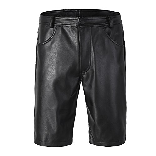 CHICTRY Herren Bermudas Shorts Wetlook Kurze Hose Ultrabequem Lack-Optik Pants Ledershorts Lederhose Schwarz Schwarz Small