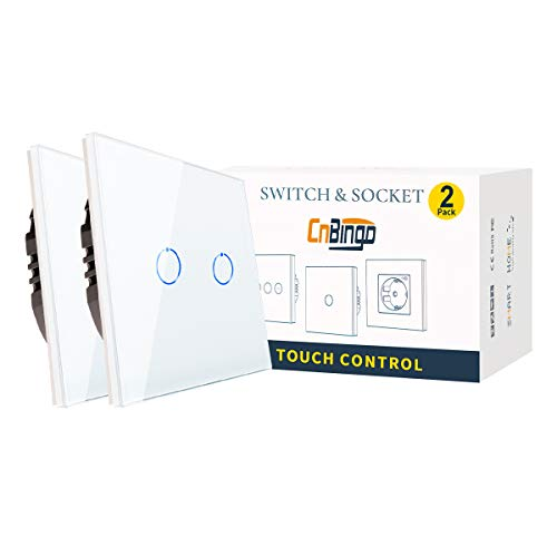CNBINGO Pack de 2 interruptores de luz dobles blancos, con sistema táctil de cristal y LED de estado, no necesita conductor neutro, interruptor de 2 vías, 240 V CA, 800 W/compartimento