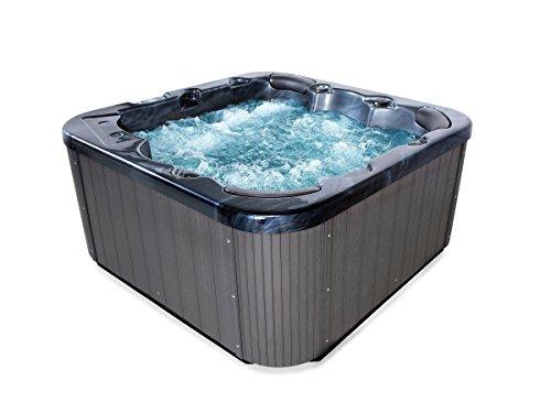 Supply24 since 2004 Outdoor Whirlpool Hot Tub Zeus Farbe schwarz mit 44 Massage Düsen + Heizung + Ozon Desinfektion + LED Beleuchtung Außenpool für 5-6 Personen für Garten/Terasse/Außenbereich