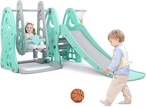 Bamny Toboggan et Balançoire pour Enfants avec Panier de Basket et Basketball, Toboggan pour Enfants Balancoire Bébé, Multifonction,Stable(jusqu'à 25 kg)