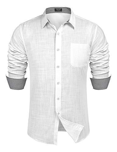 COOFANDY Herren Leinenhemd Langarm Herren Hemd Regular fit Freizeithemd Shirt Weiss L