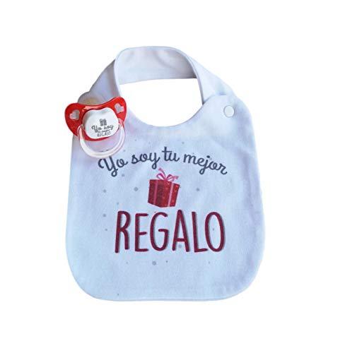 PACK BABERO Y CHUPETE FRASE' Yo soy tu mejor regalo' Regalo bebé Regalo papás