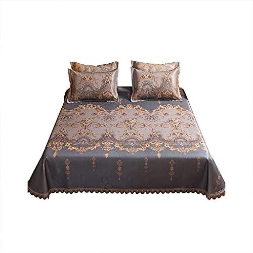 Matera de cama con aire acondicionado Colchón de sueño de verano Mats de seda de hielo - topper de enfriamiento Colchón de colchón - Cubierta de almohada de colchón de seda de hielo transpirable - Mic