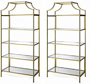 """Better Homes and Gardens Nola - Gold, (2 Pack) -71"""" 5 Tier, Bookcase"""