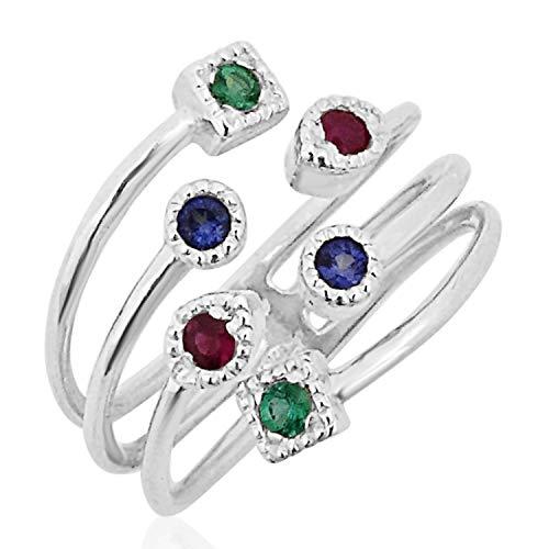 MILLE AMORI ∞ - Anello di fidanzamento da donna in oro e diamanti ∞ oro bianco 9 kt 375 rubino + zaffiro + smeraldo 0,26 carati ∞ Gems e Oro bianco, cod. 2353 B