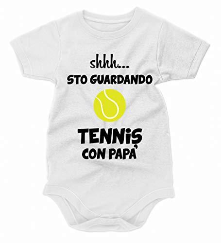 bubbleshirt Body Neonato Divertenti Shhh. STO Guardando Tennis con papà - Festa del papà - Idea Regalo