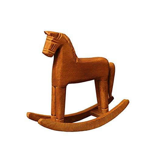 Motto.H- Creativo retrò Ornamenti in Legno Cavallo A Dondolo Animal Gift Vintage Studio Store Home Decor Statuette Wood Crafts Statuette