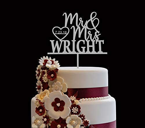 Personalized Wedding Cake Topper Wooden Cake Toppers Mr Mrs Heart Customized Wedding Date And product image