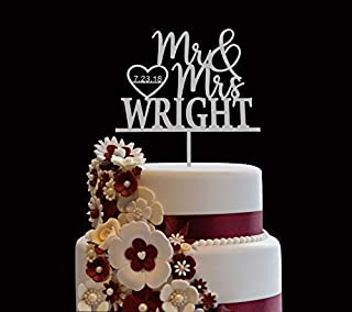 Personalized Wedding Cake Topper, Wooden Cake Toppers, Mr Mrs Heart Customized Wedding Date And Last Name To Be Bride & Groom