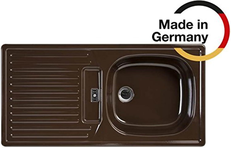 Rieber Einbauspüle E 86 RK mocca reversibel Küchenspüle MADE IN GERMANY korrosionsBestendig und lichtecht Emaillierte Spüle 1 Becken mit Abtropfflche Spülbecken