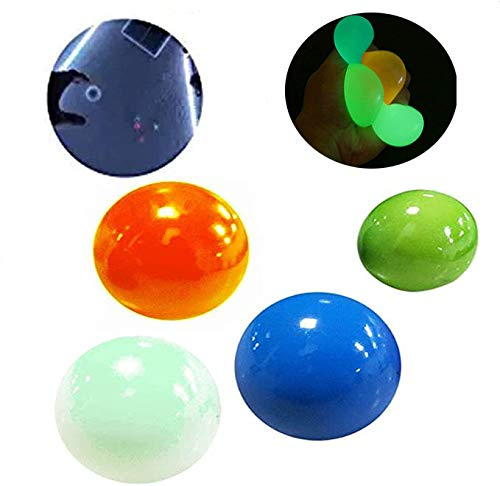 MAITING 4 Glow Stress Relief Balls Sticky Ball, Stick to The Wall and Slowly Fall Off, Glow Stress Relief Toys for Kids and Adults Tear-Resistant, Non-Toxic, Fun Toy for ADHD, OCD, Anxiety