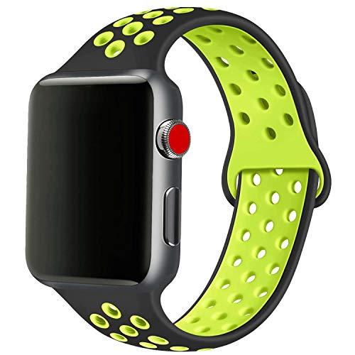 SSEIHI Ersatz Armbänder Kompatibel mit Apple Watch Armband 42mm 44mm,weiches Silikon Sport Ersatzband für Armband für iWatch Serie 6/5/4/3/2/1,SE,Pride,Bunt,Regenbogen,Atmungsaktiv,S/M,Black Volt