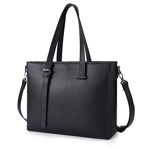 ECOSUSI Shopper Damen große Tote Tasche Schultertasche PU Leder Handtasche Arbeitstasche Umhängetasche mit Verdicktem Laptopfach, Klassisches Schwarz