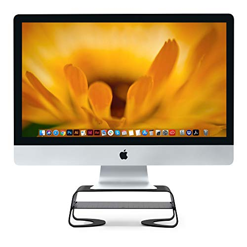 Twelve South Curve Riser Monitor Stand | Ergonomic Desktop Stand with Storage Shelf for iMac and Displays, Matte Black