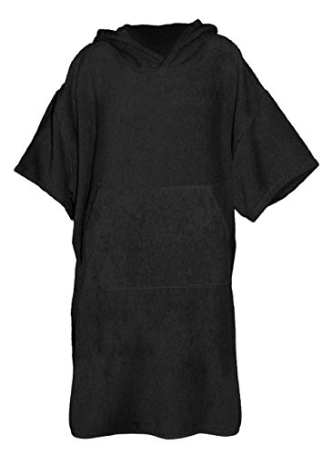 Sandiline Unisex Poncho Handtuch - Badehandtuch mit Kapuze für Kinder und Erwachsene, Farbe:schwarz, Größe:L/XL