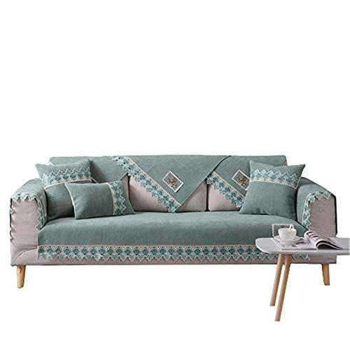 Funda de sofá de Encaje de Chenilla con patrón de Ciervo de Dibujos Animados,Antideslizante,Resistente a Las Manchas,Protector de sofá de Varios tamaños,Verde Claro,90 * 160 cm
