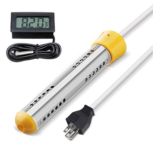 Immersion Heater, Electric Submersible Instant Water Heater with Metal Guard Cover Portable Bucket Heater to Heat 5 Gallons of Water in Minutes for Bathtub,Inflatable Pool