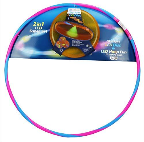 alldoro 60087 2er Set, 1 Hoop Fun Reifen Ø 72 cm & 1 Sky Light Disc Ø 27 cm, Hoopreifen & Wurfscheibe mit LEDs und Licht, Sportspielzeug für Kinder ab 4 Jahren & Erwachsene, 3 Farben Sortiert