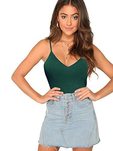 SheIn Women's Casual Basic V Neck Sleeveless Stretchy Regular Length Cami Tank Top Green Large