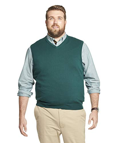 IZOD Men's Big & Tall Big Premium Essentials Solid V-Neck 12 Gauge Sweater Vest, Botanical Garden, 2X-Large Tall