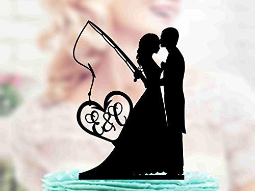 Tortenaufsatz für Hochzeitstorten mit Angelrute, Monogramm Topper, Hochzeitspaar, Jahrestag, Silber und Gold