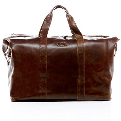 SID & VAIN Reisetasche echt Leder Chester XL groß Sporttasche groß Weekender Ledertasche Herren 56 cm braun