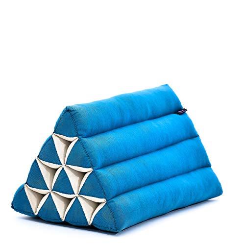 Leewadee Cuscino Triangolare thailandese: poggiatesta kapok Ecologico, Schienale Confortevole per la Lettura, Cuscino Fatto a Mano, 50 x 33 x 33 cm, Azzurro