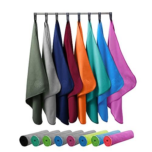Bahidora Asciugamani in microfibra, asciugamano da viaggio, ad asciugatura rapida, con cordino e borsa per il trasporto (set da 40 x 80 cm + 80 x 160 cm, viola)