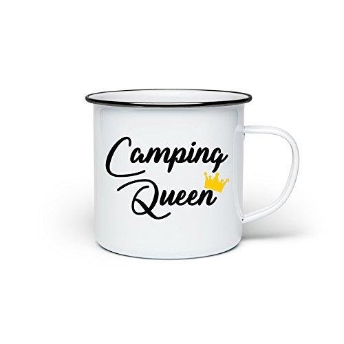 TassenTicker Camping-Tasse mit Spruch Camping Queen Kaffeetasse Kaffeebecher Emaille-Tasse Campingbecher