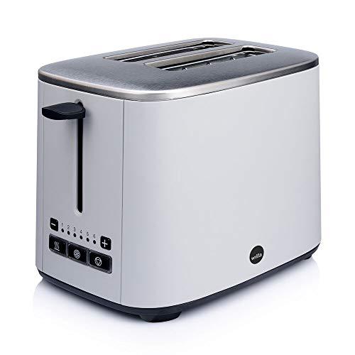 Wilfa CLASSIC Tostadora - De acero inoxidable, ajustes de temperatura regulables con función de descongelación, recalentamiento y apagado, gris