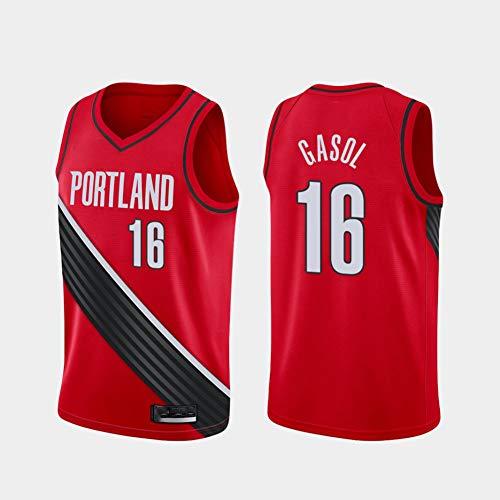 Ropa de Baloncesto para Hombre Portland Trail Blazers 16# Gasol Bordada Vestima sin Mangas Camiseta Unisex,XL
