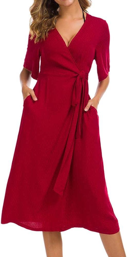 TOP-MAX Womens Dresses Plain Casual V-Neck Short Sleeve Flowy Midi Dress with Belt S-XL