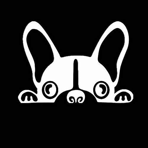weichuang Tragbarer Treteimer abnehmbare Deckel Ist 2Pcs / Lot Hundeautoaufkleber Haustier Boston Terrier Kleber-Aufkleber PVC-Ganzkörper-Auto Hanging Abfalleimer Klapp (Color Name : White, Size : M)